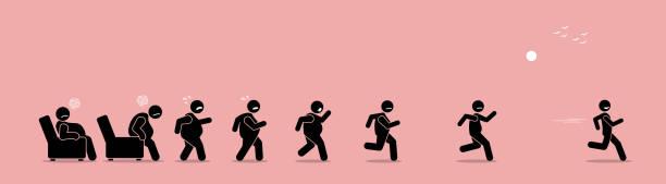 illustrazioni stock, clip art, cartoni animati e icone di tendenza di fat man getting up, running, and become thin transformation. - obesity