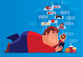 vector illustration of fat man holding smartphone and junk food all day