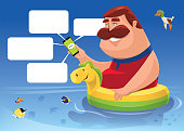 vector illustration of cheerful fat man in buoy using smartphone