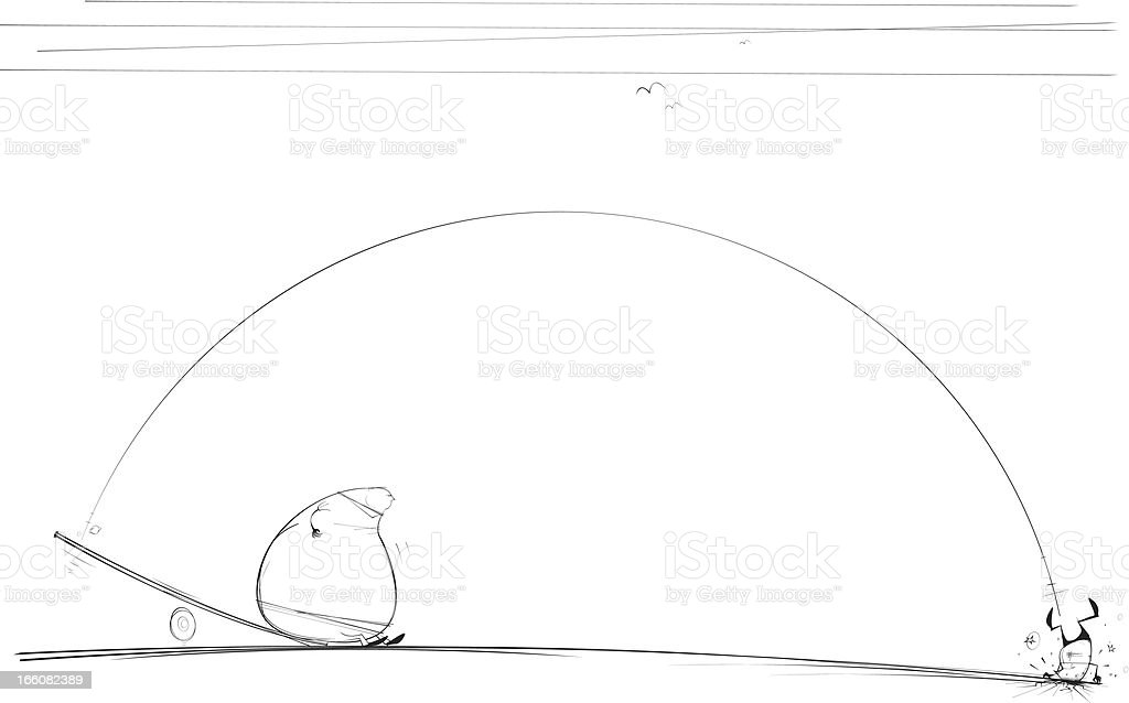 Fat man lands on See-Saw royalty-free stock vector art