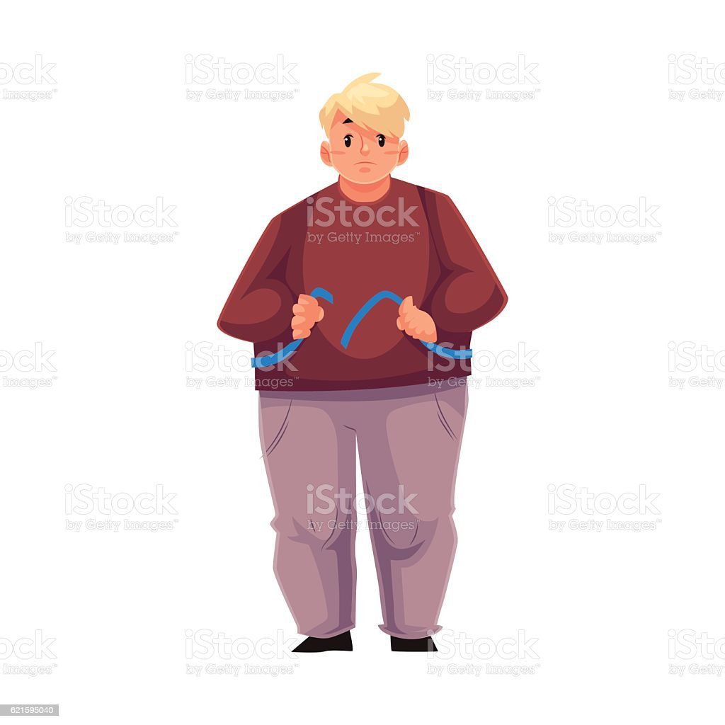 Fat man measuring himself with tape and feeling sad vector art illustration