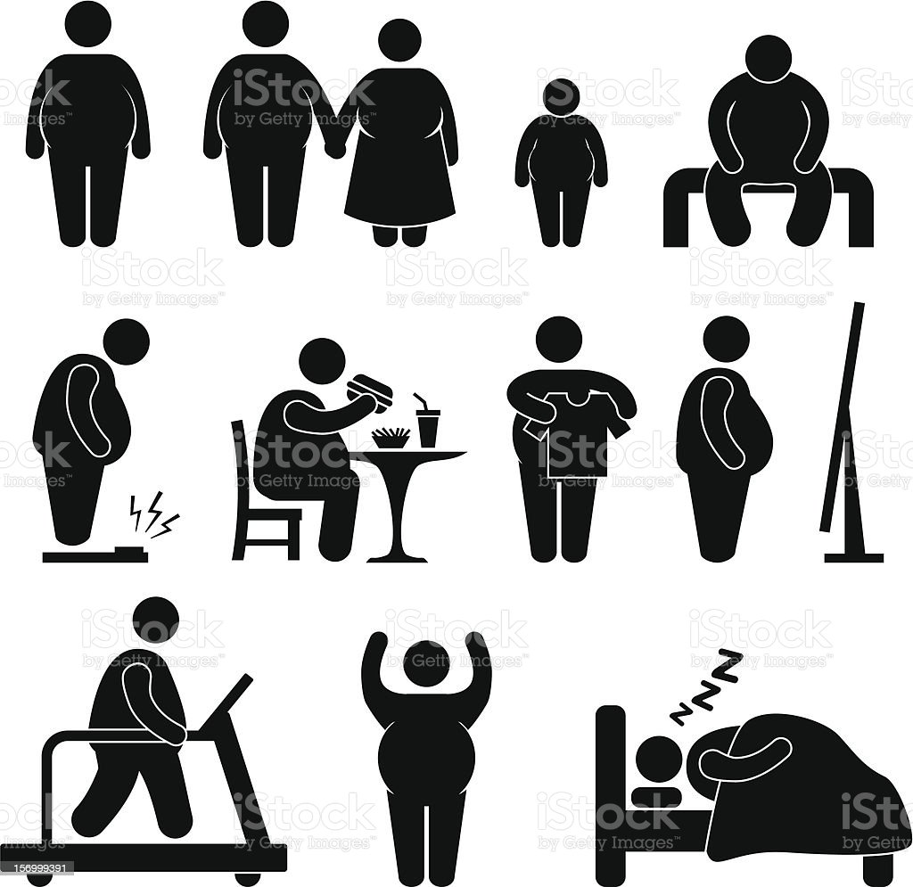 Fat Man Obesity Overweight Pictogram vector art illustration