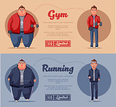 Fat man. Running and activity lifestyle concept. Cartoon vector illustration