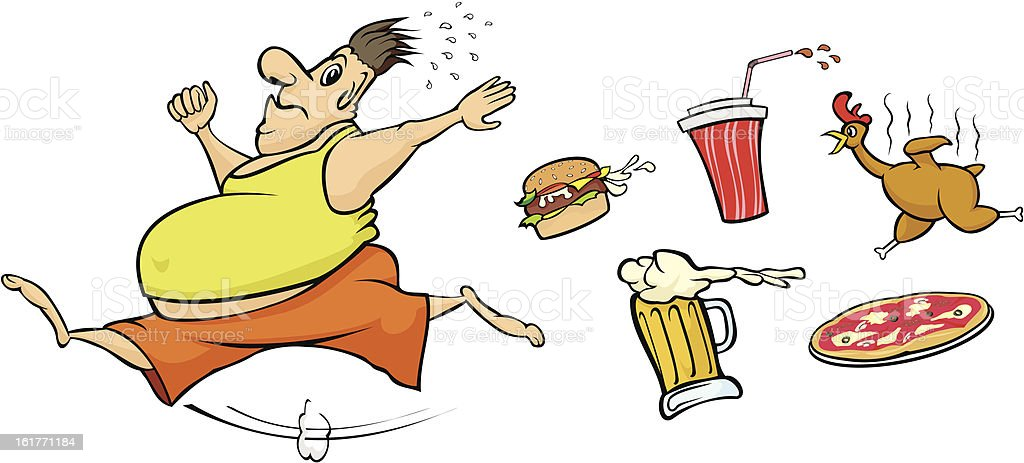 fat man runs away from unhealthy food royalty-free stock vector art