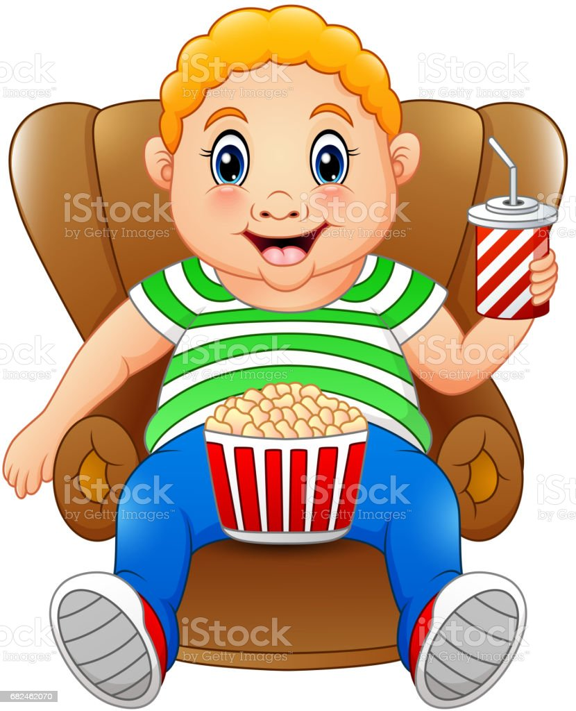 Dicker Mann sitzen auf dem Stuhl mit Popcorn und trinken Lizenzfreies dicker mann sitzen auf dem stuhl mit popcorn und trinken stock vektor art und mehr bilder von charakterkopf