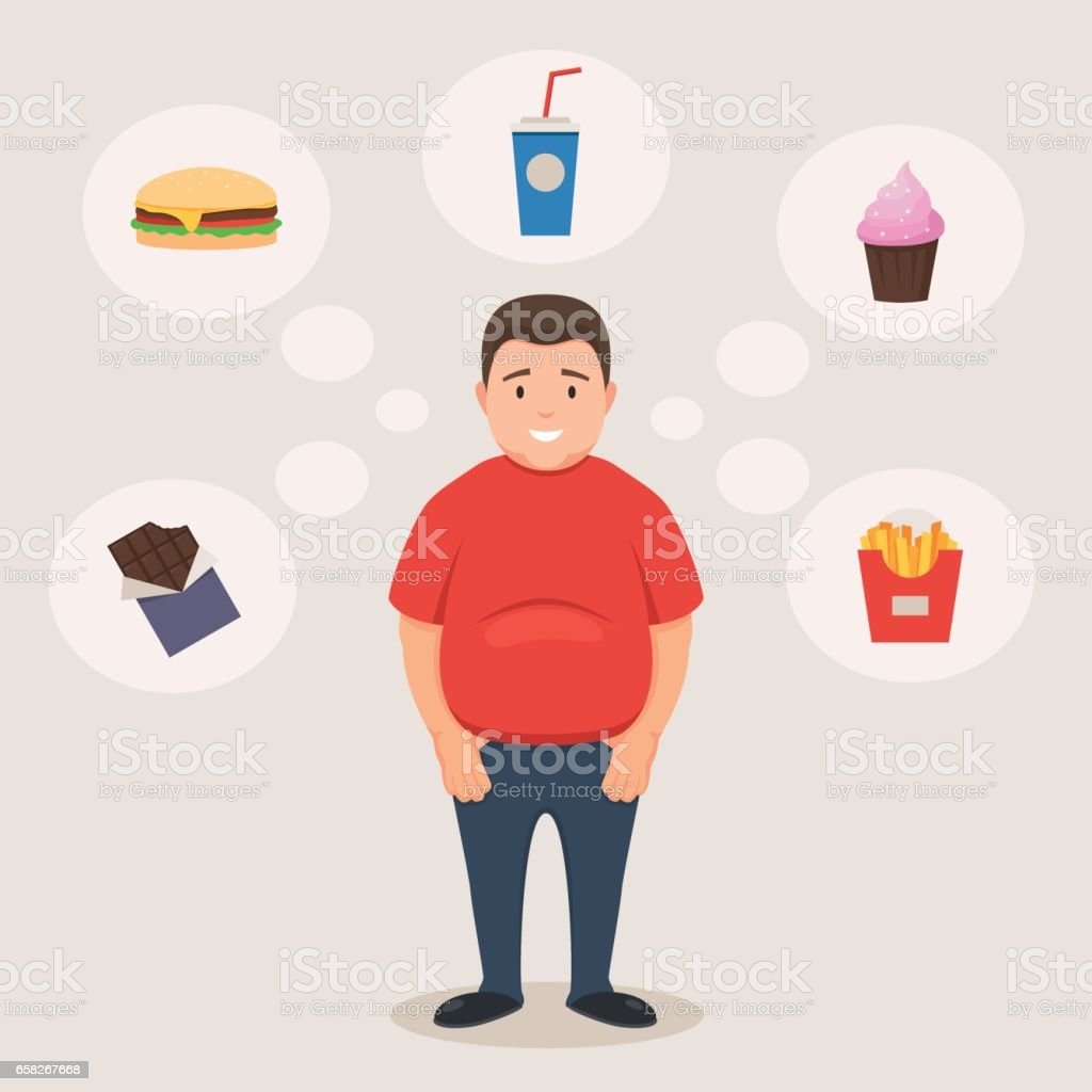 Fat man smiles and unhealthy food vector art illustration