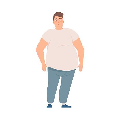 Fat man stands, Overweight man bad habit illustration vector