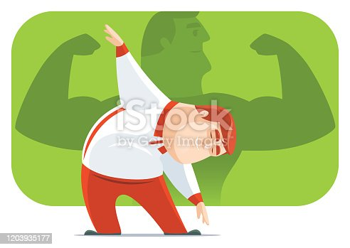 istock fat man stretching and thinking 1203935177