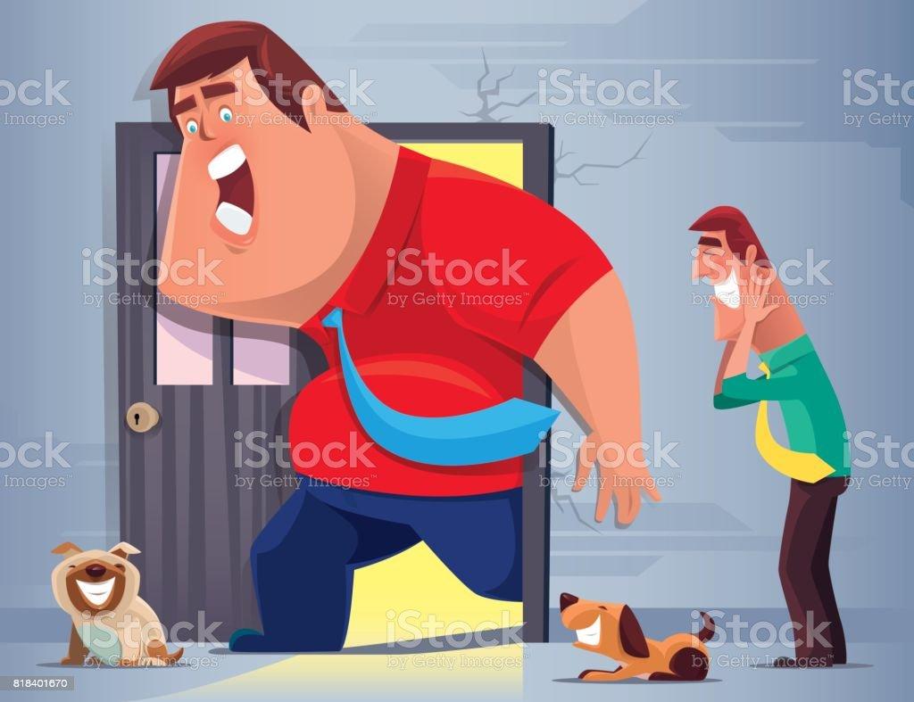 Fat Man Stuck In Doorway Stock Vector Art More Images Of Adult