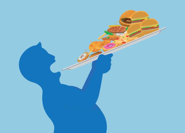 dicker mann versuchen, alle junk-food auf einmal mit einem tablett zu verschlingen. - ungesunde ernährung stock-grafiken, -clipart, -cartoons und -symbole