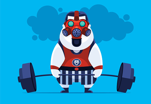 fat man weightlifting with gas mask