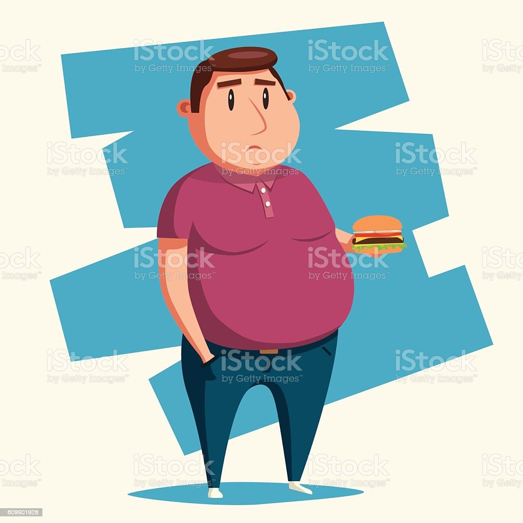 Fat man with burger. Cartoon vector illustration. vector art illustration