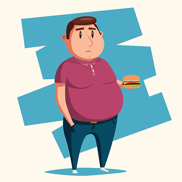 Fat man with burger. Cartoon vector illustration. Fat man with burger. Cartoon vector illustration. Obese character. Fatboy. Sad man hungry child stock illustrations