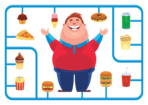 fat man with junk food model kit