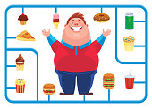 vector illustration of fat man with junk food model kit