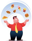 fat man with junk food