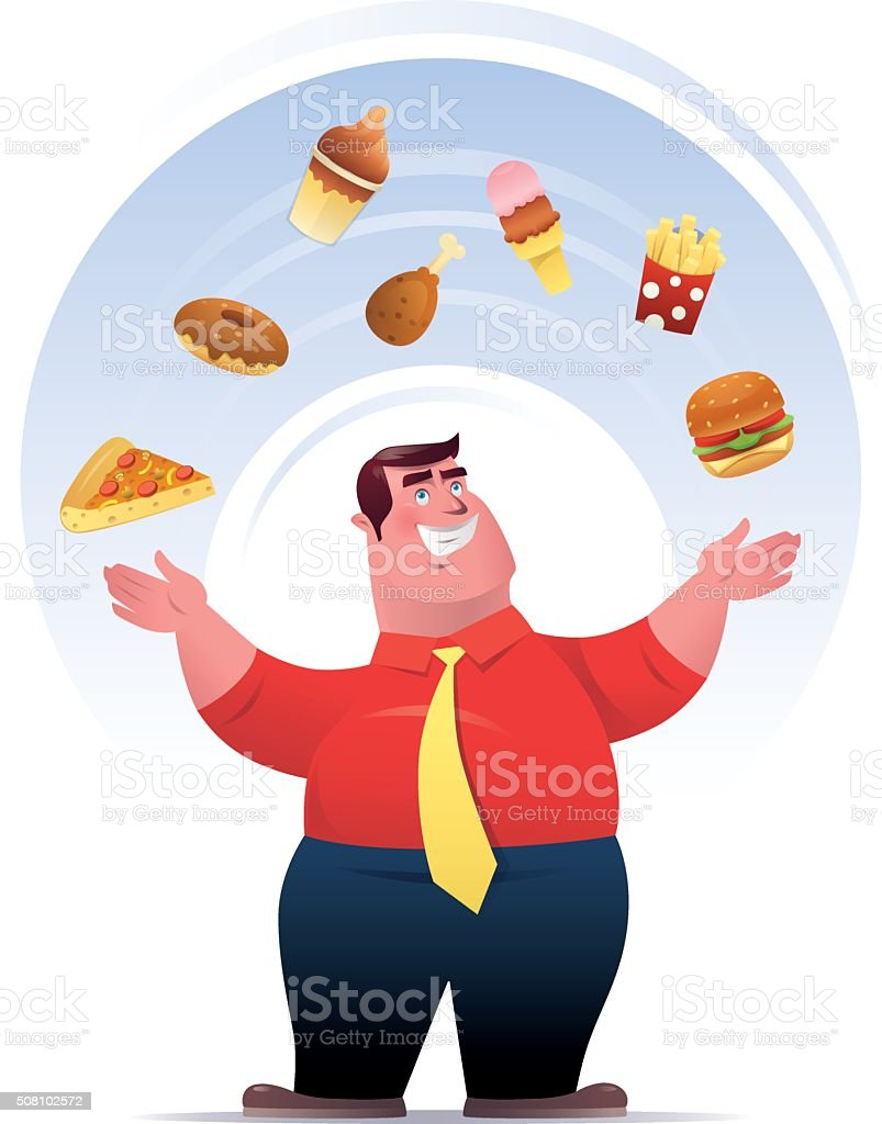 fat man with junk food vector art illustration