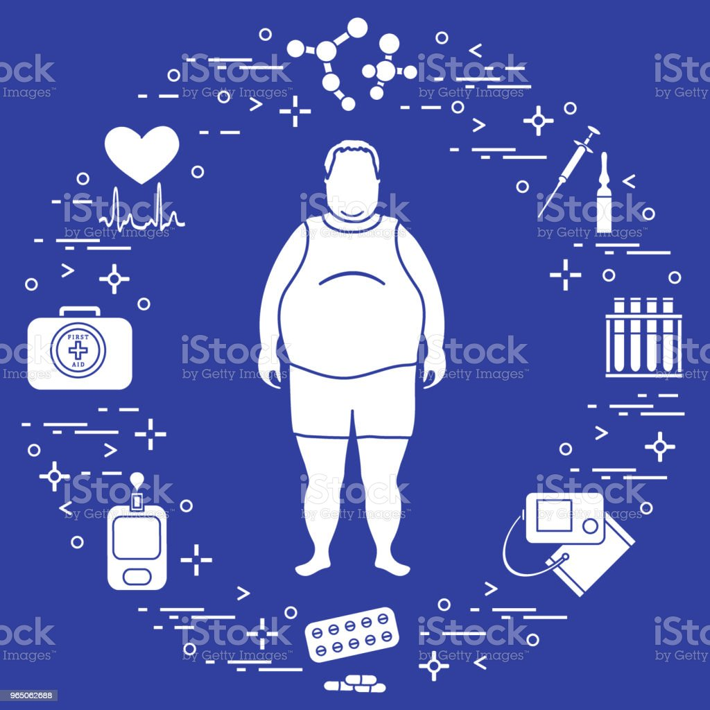 Fat man with medical devices, tools and drugs around him. Health and treatment. royalty-free fat man with medical devices tools and drugs around him health and treatment stock vector art & more images of adult
