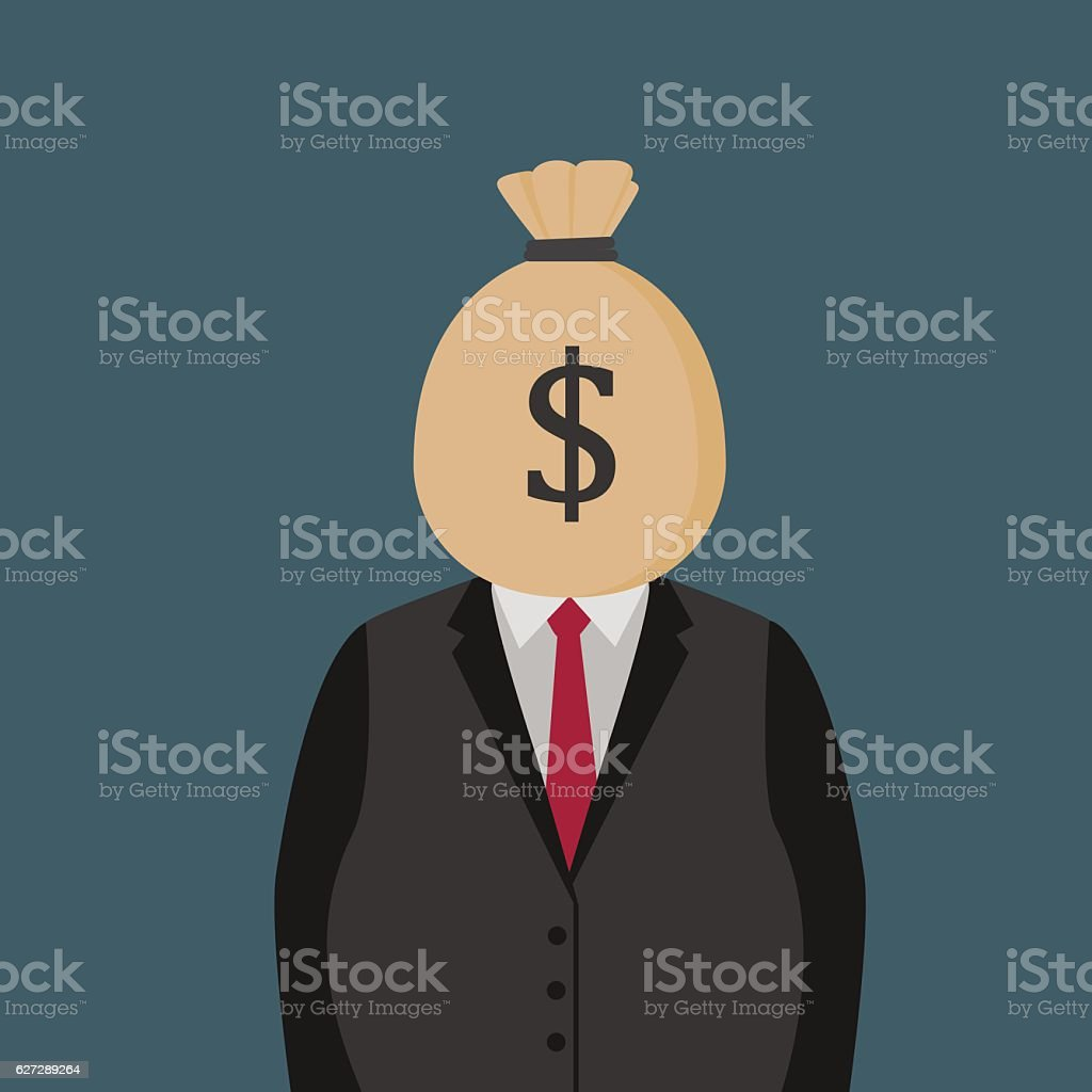 Fat Man With Moneybag On His Head vector art illustration