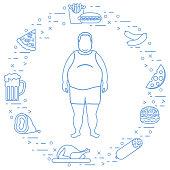 Fat man with unhealthy lifestyle symbols around him. Harmful eating habits.