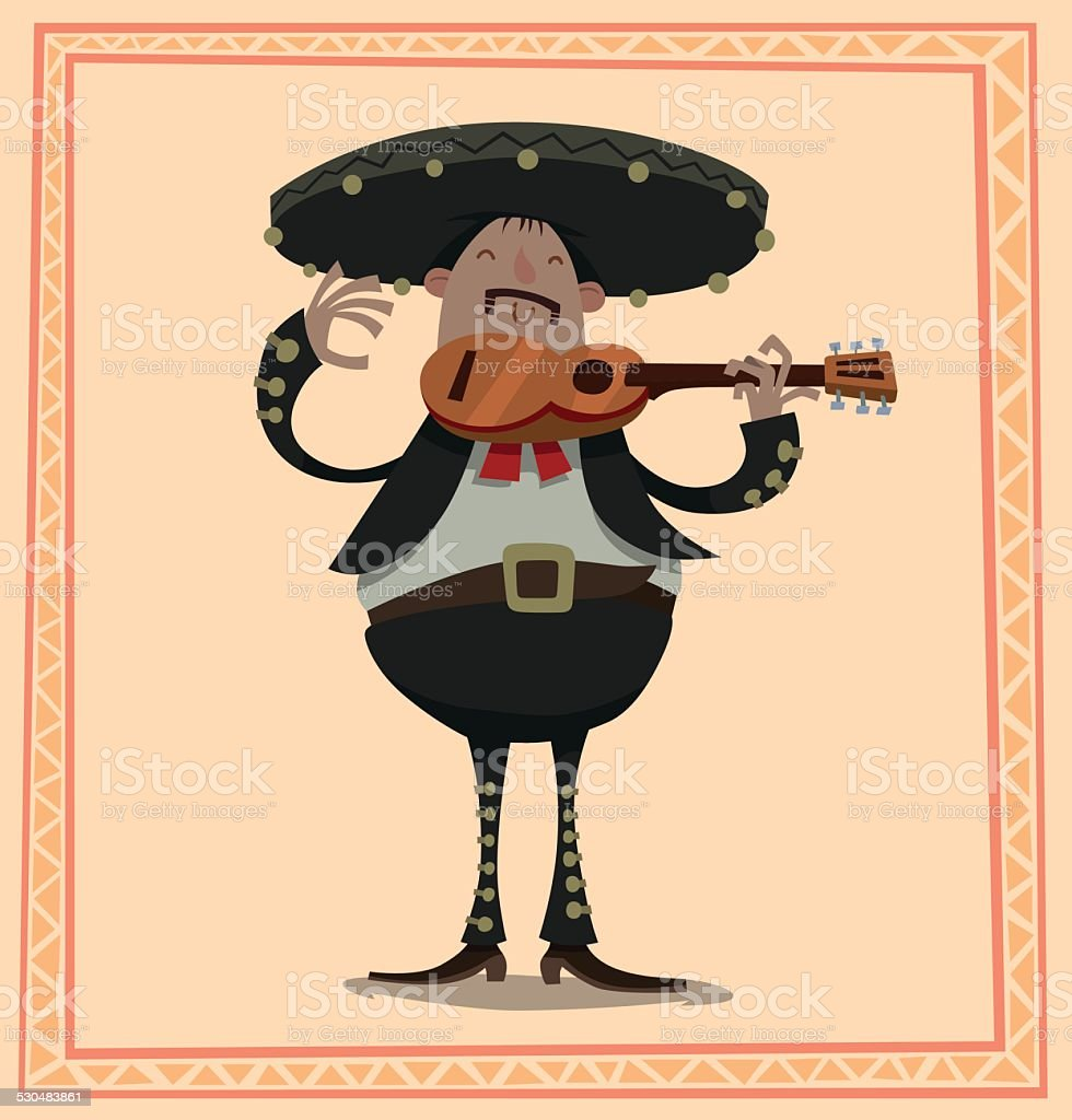 Fat Mariachi with a guitar vector art illustration