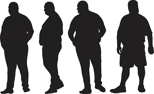 illustrazioni stock, clip art, cartoni animati e icone di tendenza di uomo grasso - obesity
