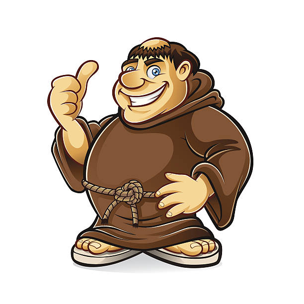 fat monk - old man showing thumbs up cartoons stock illustrations, clip art, cartoons, & icons