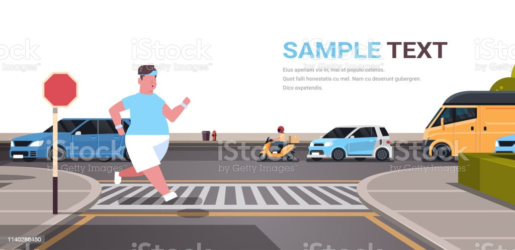 fat obese man running overweight guy jogging outdoor crossing road on...