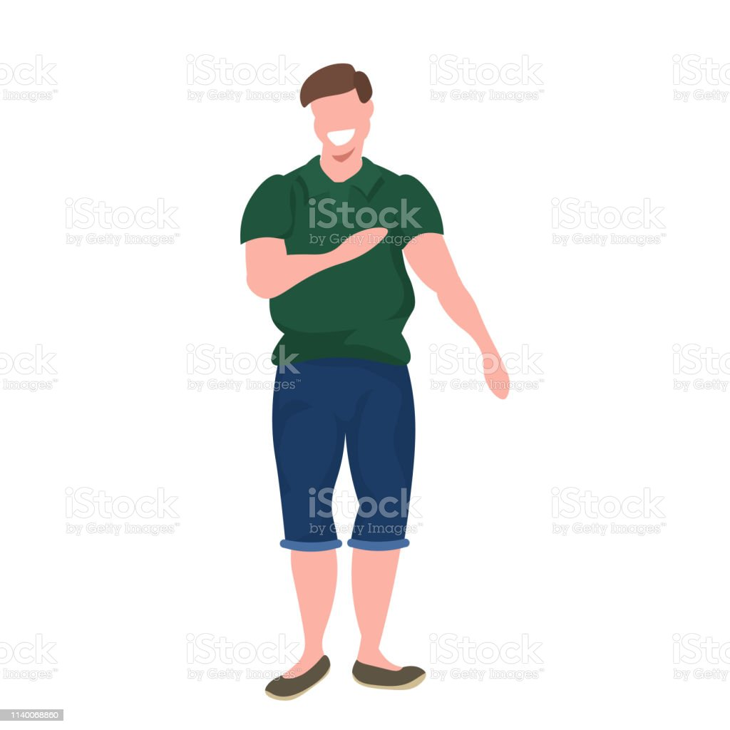 Fat Obese Man Standing Pose Smiling Overweight Casual Guy