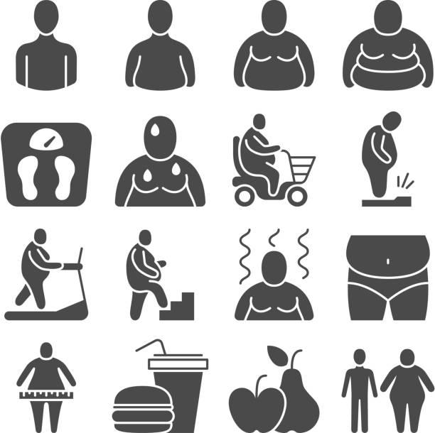 illustrazioni stock, clip art, cartoni animati e icone di tendenza di fat obese people, overweight person vector icons - obesity