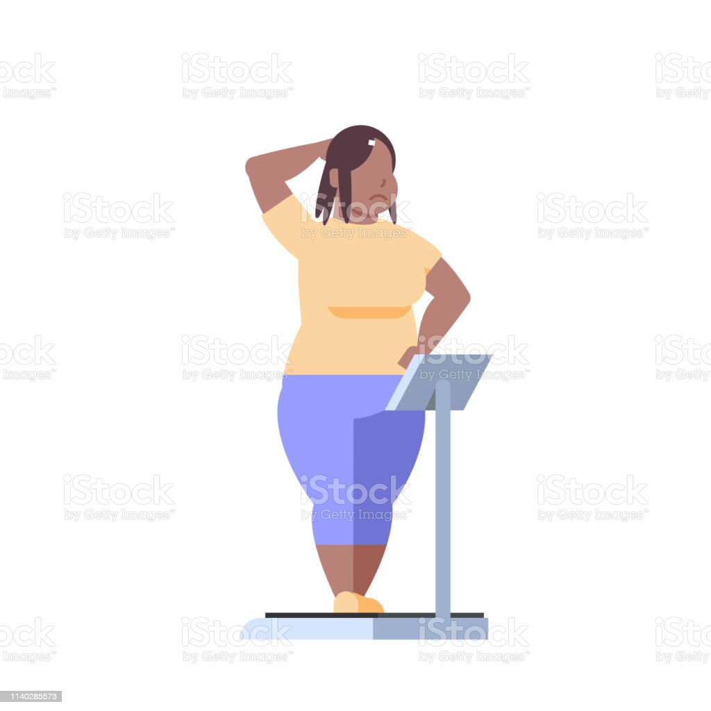 fat obese woman standing on weigh scales over size african american...