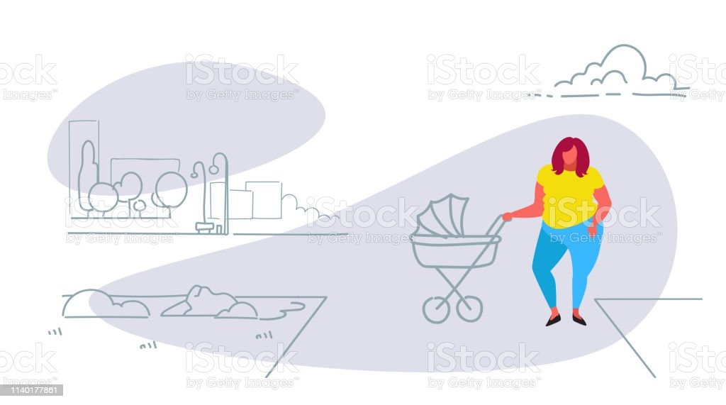 Fat Obese Woman With Baby In Pram Walking City Urban Park