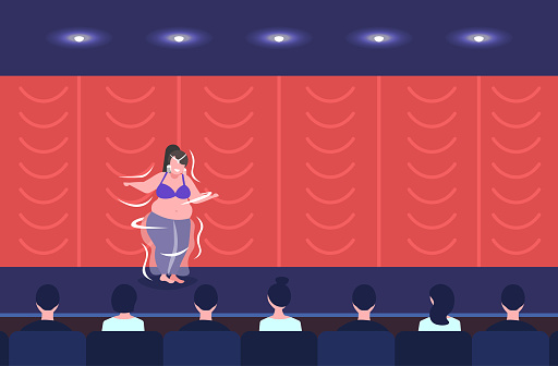 Fat Overweight Girl Belly Dancer Performing Smiling Woman Dancing On Stage Obesity Weight Loss Concept Modern Concert Room Theater Hall Interior Full Length Flat Horizontal - Immagini vettoriali stock e altre immagini di Addome