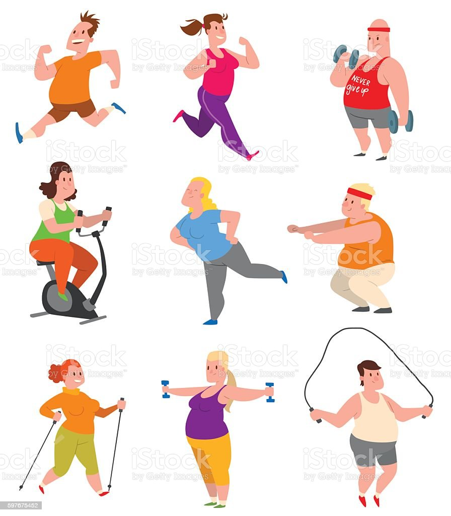 Fat people fitness gym vector. vector art illustration