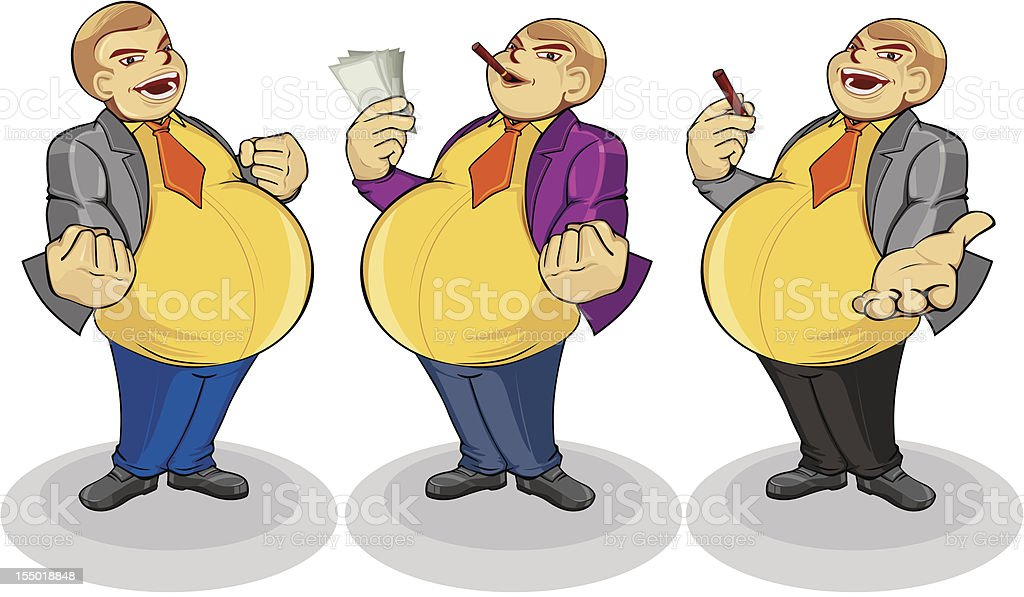 Fat people show his success royalty-free stock vector art