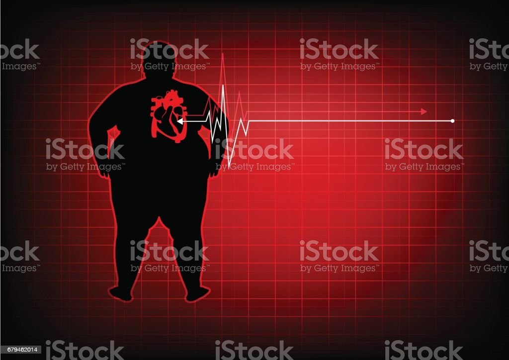 fat people with heart disease abstract background vector art illustration
