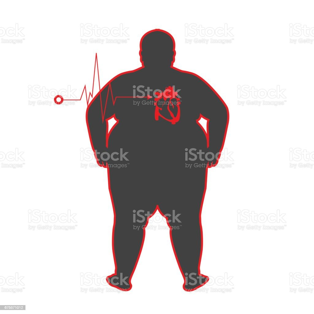 fat people with heart disease vector art illustration