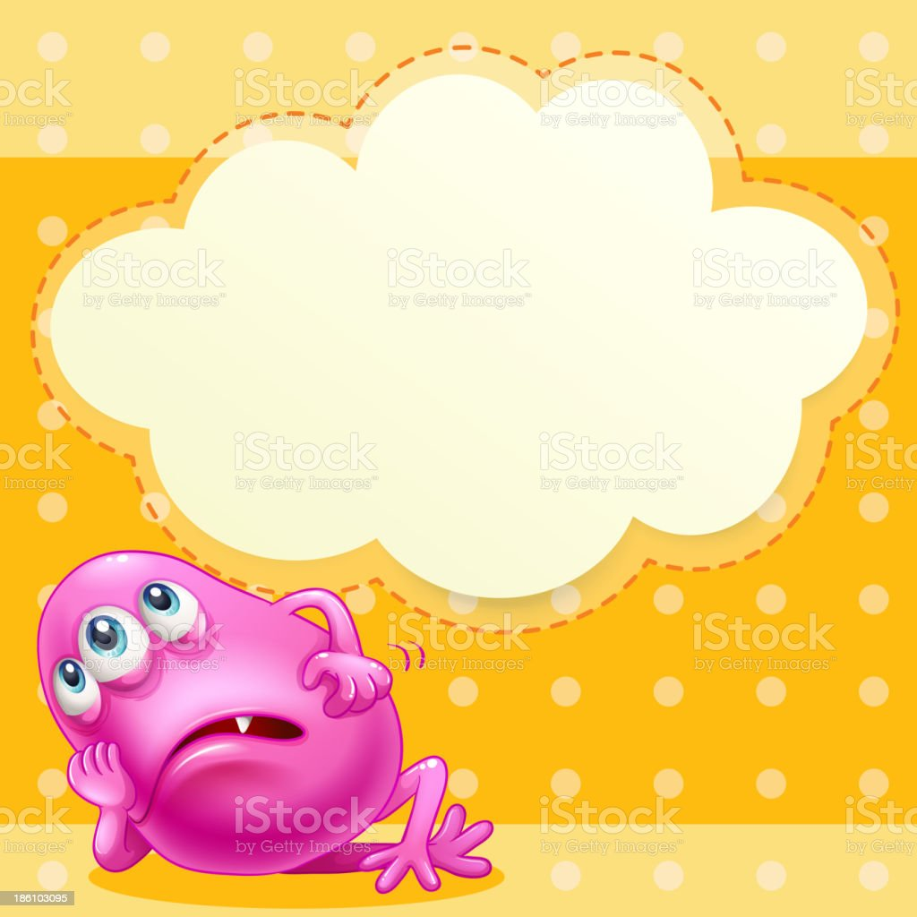 fat pink monst cloud template at the backer with empty royalty-free stock vector art