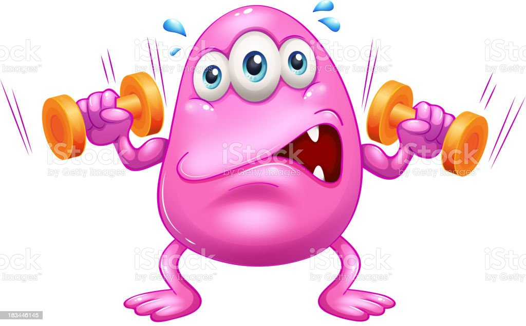 fat-pink-monster-exercising-vector-id183