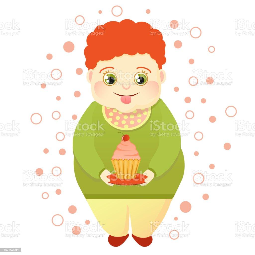 Un gordito pelirrojo es un pastel y se lame a sí mismo. Vestido fresco o amante de los dulces. Lindo glotón - ilustración de arte vectorial