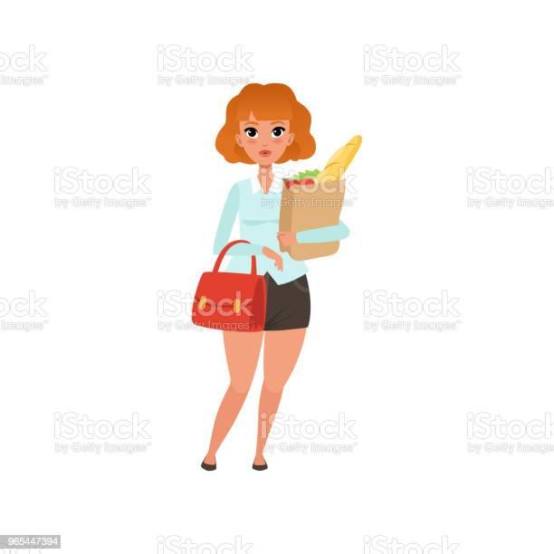 Vetores de Gordinha Ruiva Com Papel E Bolsa Sacola Com Compras Mulher De Saia Preta E Blusa Azul Desenho Vetorial Plana e mais imagens de Adulto