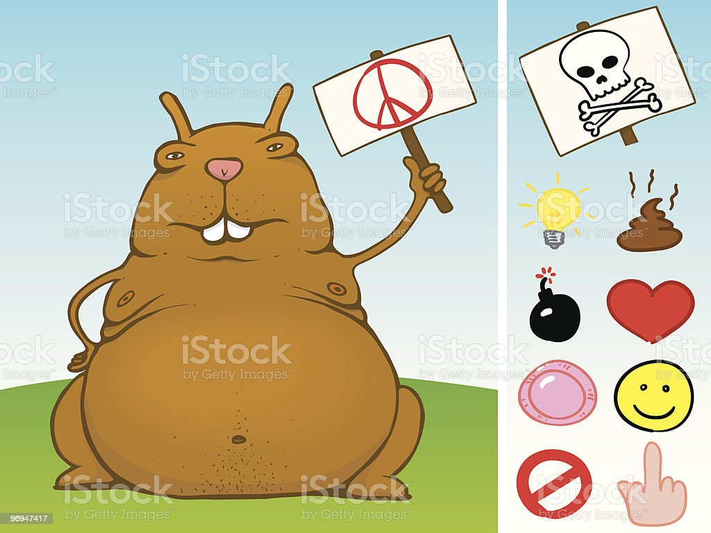 Fat rodent with sign and icon set - vector royalty-free fat rodent with sign and icon set vector stock vector art & more images of animal