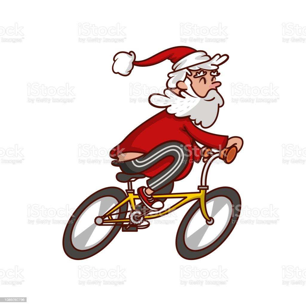Fat Santa Claus Reiten Fahrrad Lachelnde Greis Radfahren Geniessen