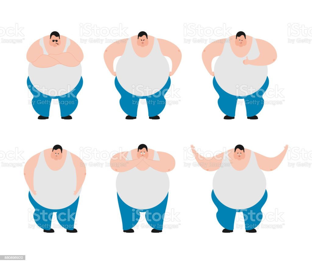 Fat set poses and motion. Stout guy happy and yoga. Big man sleeping and  angry. guilty and sad. Vector illustration - Illustration . b325b6d6628f