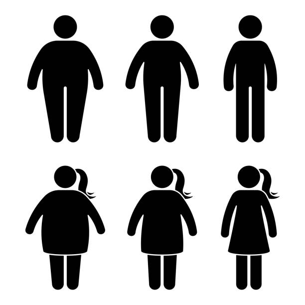 Fat stick figure vector icon set. Obese people couple black and white flat style pictogram on white background Fat stick figure vector icon set. Obese people couple black and white flat style pictogram on white background human representation stock illustrations