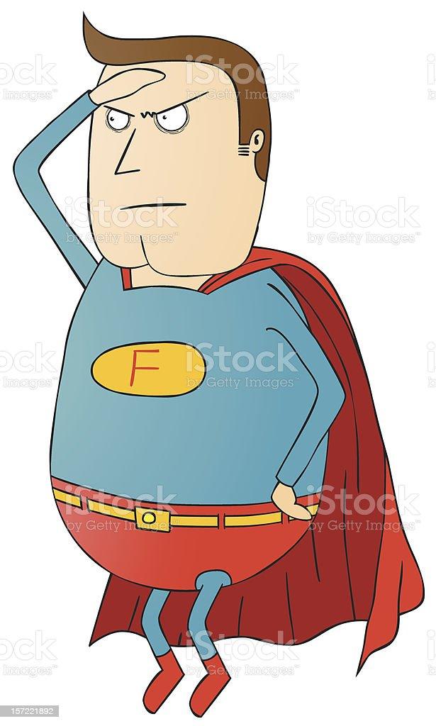 脂肪のスーパーヒーローパトロール イラストレーションのベクター