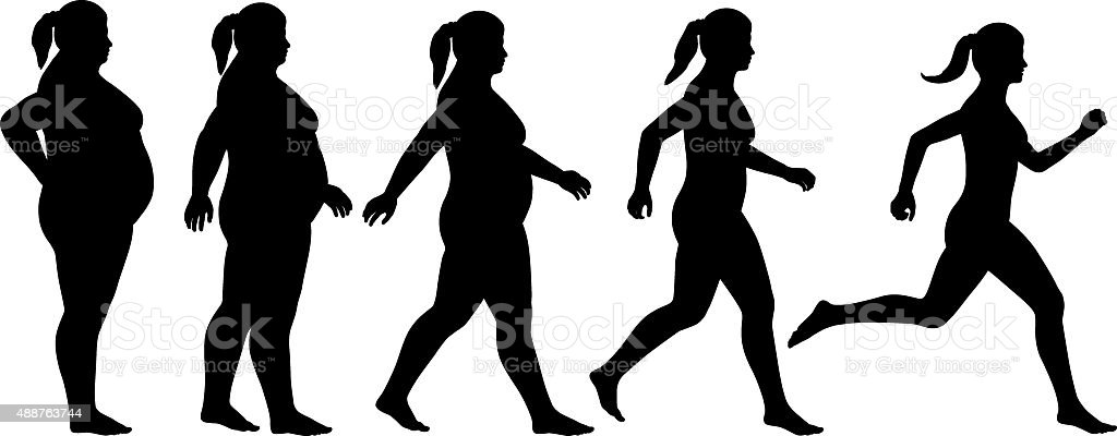 Fat to fit woman vector art illustration