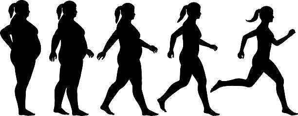 illustrazioni stock, clip art, cartoni animati e icone di tendenza di grasso per adattarsi donna - obesity