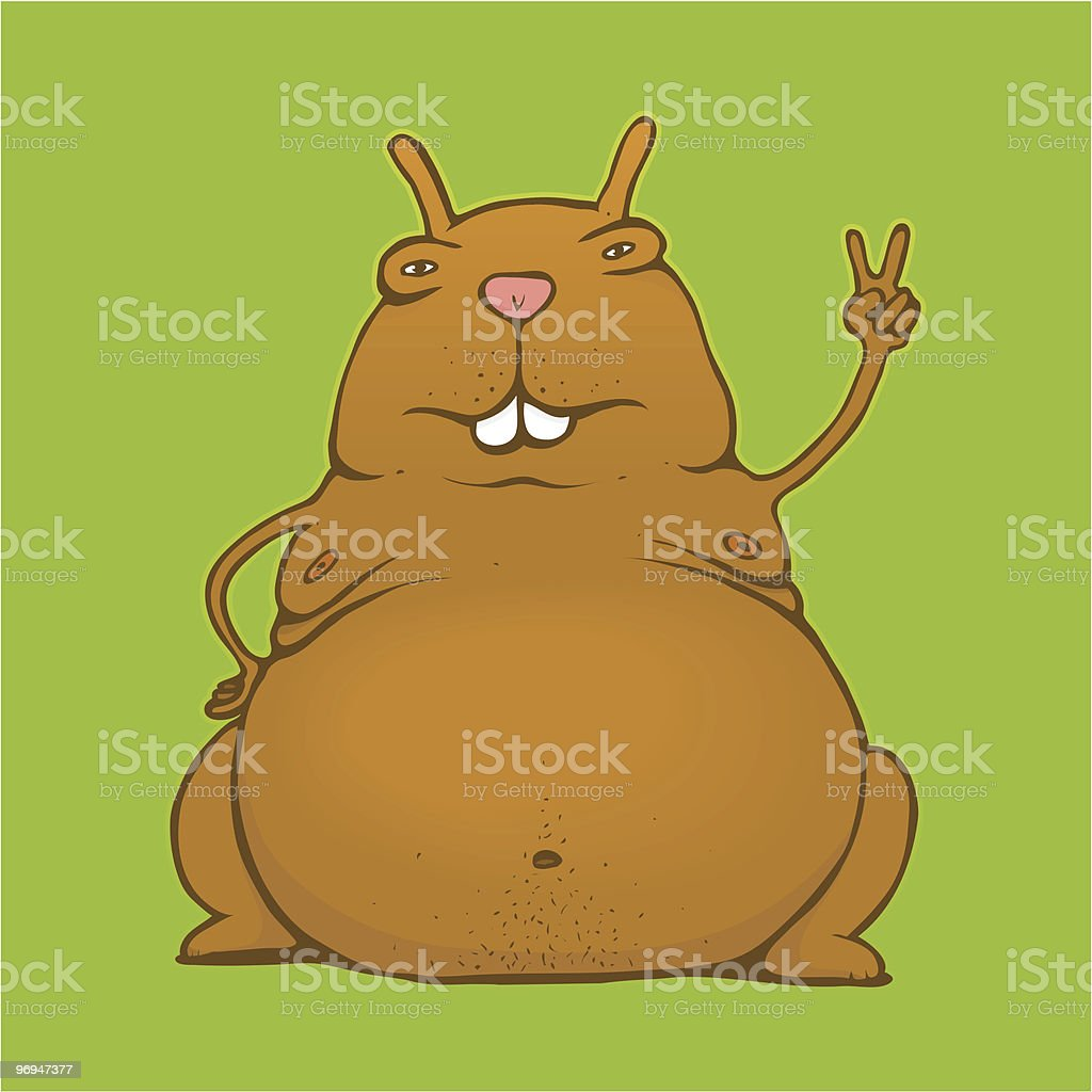 Fat victory/peace rodent royalty-free fat victorypeace rodent stock vector art & more images of animal