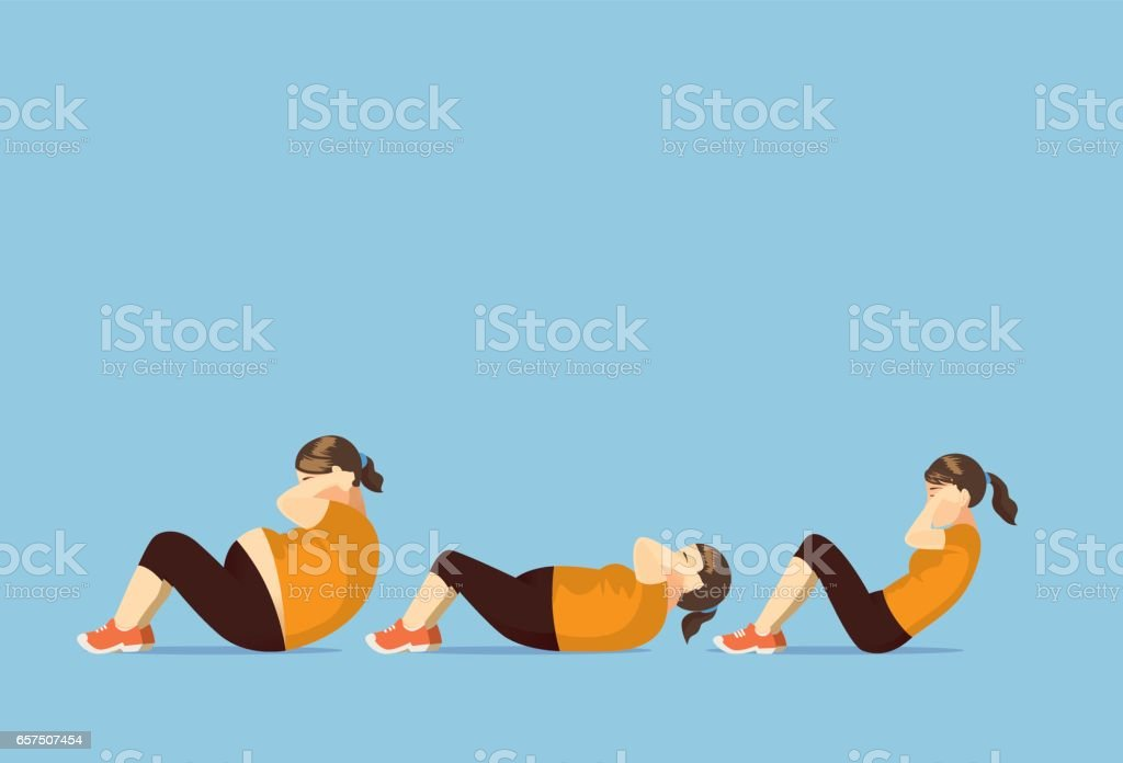 Fat woman change body to slim with doing sit up. vector art illustration